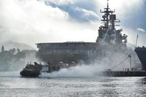 COURTESY U.S. NAVY / 2018                                 A landing craft launches from the amphibious assault ship USS Bonhomme Richard at Joint Base Pearl Harbor-Hickam during Rim of the Pacific military exercises in 2018.