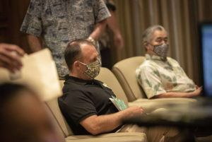 "CINDY ELLEN RUSSELL / CRUSSELL@STARADVERTISER.COM                                 Hawaii Lt. Gov. Josh Green, left, and Gov. David Ige wore masks prior to a news conference about the state's response COVID-19 at the State Capitol Tuesday. Green expressed hope that Hawaii is seeing success in ""flattening the curve"" of total cases, but cautioned that the public still needs to follow government emergency rules and other safety guidelines."