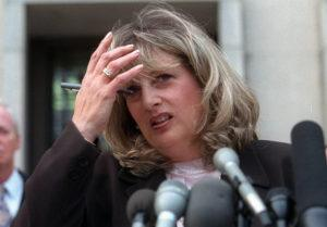 ASSOCIATED PRESS                                 Linda Tripp talks to reporters outside federal court in Washington in 1998. Tripp, whose secretly recorded conversations with White House intern Monica Lewinsky led to the 1998 impeachment of President Bill Clinton, died today.
