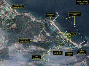 MAXAR TECHNOLOGIES VIA AP                                 Satellite image provided by Maxar Technologies and annotated by 38 North, a website specializing in North Korea studies, shows an overview of the Wonsan complex in Wonsan, North Korea, on Tuesday.