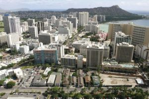 STAR-ADVERTISER / 2007 The Waikiki Beach Walk aerial view.