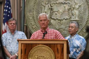 BRUCE ASATO / BASATO@STARADVERTISER.COM Mayor Kirk Caldwell spoke at a news conference in Gov. David Ige's office to provide updates on COVID-19.