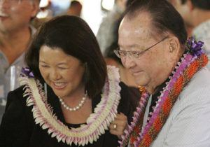 STAR-ADVERTISER / FEB. 17, 2008                                 U.S. Sen. Daniel Inouye and his then-fiance Irene Hirano met with the crowd assembled to hear Chelsea Clinton speak at a democratic rally for Hillary Clinton at Ryan's Grill at Ward Center in 2008.