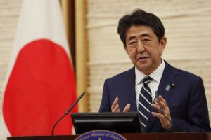 ASSOCIATED PRESS Japan's Prime Minister Shinzo Abe speaks at a news conference in Tokyo today. Abe lifted a coronavirus state of emergency in Tokyo and four other remaining areas, ending the restrictions nationwide.