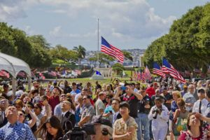 STAR-ADVERTISER / 2016                                 An overflow crowd at the Mayor's Memorial Day Ceremony at the National Memorial Cemetery of the Pacific in Punchbowl.