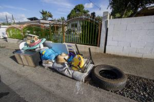 STAR-ADVERTISER / 2017 Bulky trash items along Hiapo St. and Waipahu St. in Waipahu awaited pickup by the city.