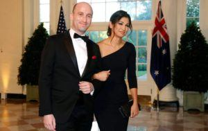 ASSOCIATED PRESS                                 President Donald Trump's White House Senior Adviser Stephen Miller, left, and Katie Waldman, now Miller, arrived for a State Dinner, in Sept. 2019, with Australian Prime Minister Scott Morrison and President Donald Trump at the White House in Washington. Vice President Mike Pence's press secretary has the coronavirus, the White House said today, making her the second person who works at the White House complex known to test positive for the virus this week.