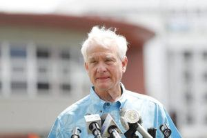 CINDY ELLEN RUSSELL / CRUSSELL@STARADVERTISER.COM                                 Mayor Caldwell speaks at a news conference in Makiki on Tuesday.