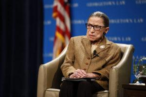 ASSOCIATED PRESS                                 U.S. Supreme Court Associate Justice Ruth Bader Ginsburg speaks during a discussion on the 100th anniversary of the ratification of the 19th Amendment at Georgetown University Law Center in Washington on Feb. 10.