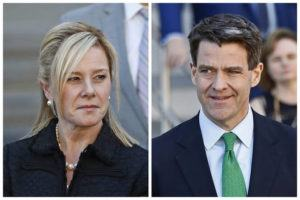 "ASSOCIATED PRESS                                 This combination of March 2017 file photos shows Bridget Kelly, left, and Bill Baroni leaving federal court after sentencing in Newark, N.J. The Supreme Court has thrown out the convictions of the two political insiders involved in New Jersey's ""Bridgegate"" scandal."