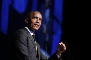 "ASSOCIATED PRESS / 2018                                 Former President Barack Obama accepts the Robert F. Kennedy Human Rights Ripple of Hope Award at a ceremony in New York. Obama spoke on ""Show Me Your Walk, HBCU Edition,"" a two-hour event for students graduating from historically black colleges and universities broadcast on YouTube, Facebook and Twitter."