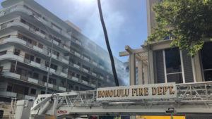 CINDY ELLEN RUSSELL / CRUSSELL@STARADVERTISER.COM                                 Honolulu firefighters extinguished a fire on Seaside Avenue this afternoon in Waikiki.
