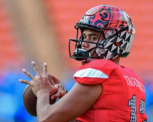 STEVEN ERLER / SPECIAL TO THE STAR-ADVERTISER                                 Taulia Tagovailoa warms up prior to the start of the Polynesian Bowl played on Jan. 19, 2019, at Aloha Stadium.