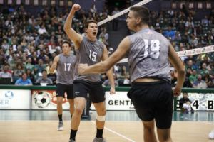 STAR-ADVERTISER / 2019                                 University of Hawaii Warrior volleyball players Colton Cowell, Patrick Gasman and Rado Parapunov celebrated a point against the Stanford Cardinals. The three seniors are eligible to play another season based on a ruling from the NCAA.