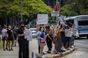 CINDY ELLEN RUSSELL / CRUSSELL@STARADVERTISER.COM                                 About 120 demonstrators gathered at the state Capitol this afternoon in support of the Black Lives Matter movement, a years-long effort calling for equality for black Americans.