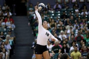 STAR-ADVERTISER                                 Hawaii's Jolie Rasmussen slammed down a point during the second set of a Sept. 2019 match against Army, at the Stan Sheriff Center.	The Big West Conference said today that it is postponing its fall sports lineup through the end of the calendar year, impacting University of Hawaii Rainbow Wahine volleyball, soccer and cross country.