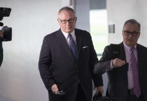 ASSOCIATED PRESS / MAY 2018                                 Former Donald Trump campaign official Michael Caputo, left, joined by his attorney Dennis C. Vacco, left after being interviewed by Senate Intelligence Committee staff investigating Russian meddling in the 2016 presidential election, on Capitol Hill in Washington. Caputo, now the top spokesman for the Department of Health and Human Services, apologized to his staff for the Facebook video, said an administration official, who spoke on condition of anonymity to discuss internal matters.