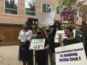 ASSOCIATED PRESS                                 Dawn Wooten, left, a nurse at Irwin County Detention Center in Ocilla, Georgia, spoke at a news conference, today, in Atlanta protesting conditions at the immigration jail. Wooten said authorities denied COVID-19 tests to immigrants, performed questionable hysterectomies and shredded records in a complaint filed to the inspector general of the U.S. Department of Homeland Security.
