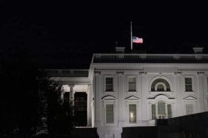 ASSOCIATED PRESS / SEPT. 18                                 The flag at the White House flies at half-staff in Washington, after the Supreme Court announced that Supreme Court Justice Ruth Bader Ginsburg has died of metastatic pancreatic cancer at age 87.