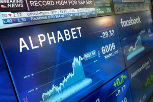 ASSOCIATED PRESS / 2017                                 Alphabet stock is shown on a screen at the Nasdaq MarketSite in New York.