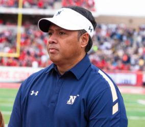 ASSOCIATED PRESS / 2015                                 Navy's head coach Ken Niumatalolo on the field for the coin toss before a game against Houston. Niumatalolo has apologized for criticizing the Pentagon over issues surrounding the playing of the Commander-in-Chief's Trophy series this season.