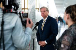 NEW YORK TIMES / JUNE 9                                 Sen. Lindsey Graham (R-S.C.) talks to reporters on Capitol Hill in Washington.