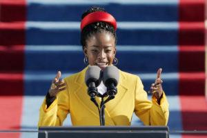 ASSOCIATED PRESS                                 American poet Amanda Gorman read a poem during the 59th Presidential Inauguration at the U.S. Capitol in Washington, today.