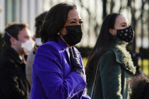 ASSOCIATED PRESS                                 Vice President Kamala Harris walks during the Presidential Escort, part of Inauguration Day ceremonies, today in Washington.