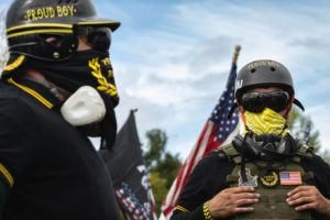 NEW YORK TIMES / 2020                                 A rally by the far-right group the Proud Boys at Delta Park in Portland, Ore.