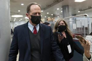 ASSOCIATED PRESS Sen. Pat Toomey, R-Pa., departs on Capitol Hill in Washington, after the Senate acquitted former President Donald Trump in his second impeachment trial in the Senate at the U.S. Capitol in Washington. Trump was accused of inciting the Jan. 6 attack on the U.S. Capitol, and the acquittal gives him a historic second victory in the court of impeachment.
