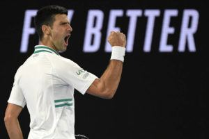 ASSOCIATED PRESS                                 Serbia's Novak Djokovic reacts after winning a point against Russia's Daniil Medvedev in the men's singles final.