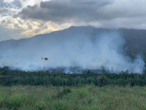 COURTESY MAUI FIRE DEPARTMENT                                 Crews worked to control a fire in heavy brush on the mauka side of Kahekili Highway.