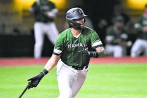 STEVEN ERLER / 2020                                 Hawaii's Alex Baeza, shown in a game at Les Murakami Stadium last season, scored all three of UH's runs in a win over the Sun Devils.