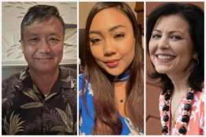 COURTESY PHOTOS AND STAR-ADVERTISER                                 Peter Yee and Kanani Elaban of Hawaii Unemployment Updates & Support Group, and Angela Keen of Hawaii Quarantine Kapu Breakers.