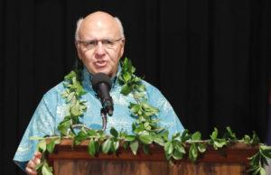 JAMM AQUINO / MARCH 15                                 Honolulu Mayor Rick Blangiardi delivers his State of the City address on Monday at Mission Memorial Auditorium.