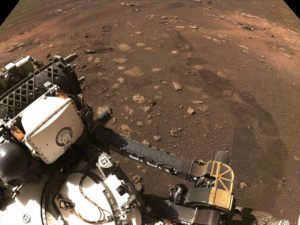 COURTESY NASA/JPL-CALTECH VIA AP                                 The first drive of the Perseverance rover on Mars on Thursday.