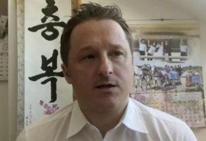 ASSOCIATED PRESS / 2017                                 Michael Spavor, director of Paektu Cultural Exchange, talks during a Skype interview in Yanji, China.