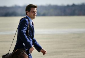 NEW YORK TIMES / 2020                                 Rep. Matt Gaetz (R-Fla.) departs from Air Force One at Joint Base Andrews in Maryland.