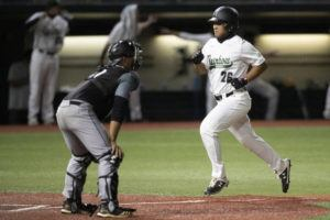 George F. Lee / March 4                                 University of Hawaii baseball player Jacob Igawa hit a three-run homer in the first game at UC Irvine on Saturday. UH lost both games of a doubleheader.