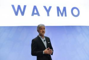 ASSOCIATED PRESS / 2017                                 John Krafcik, CEO of Waymo, the autonomous vehicle company created by Google's parent company, Alphabet speaks at the North American International Auto Show in Detroit.