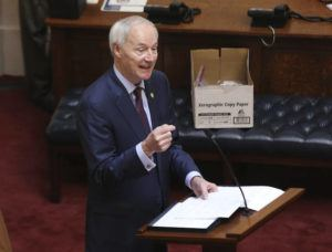 ASSOCIATED PRESS / 2020                                 Arkansas Gov. Asa Hutchinson gives the State of the State in the senate chamber of the state Capitol in Little Rock, Ark.