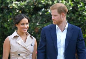 ASSOCIATED PRESS / 2019                                 Britain's Prince Harry and Meghan Markle appear at the Creative Industries and Business Reception at the British High Commissioner's residence in Johannesburg.