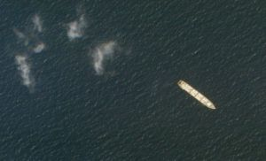 PLANET LABS INC. VIA AP                                 This Oct. 1 satellite photo from Planet Labs Inc. shows the Iranian cargo ship MV Saviz in the Red Sea off the coast of Yemen. The Iranian cargo ship, believed to be a base for the paramilitary Revolutionary Guard that has been anchored for years in the Red Sea off Yemen, has been attacked, Iranian state television acknowledged Wednesday.