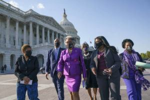 ASSOCIATED PRESS                                 Members of the Congressional Black Caucus walk to make a make a statement on the verdict in the murder trial of former Minneapolis police Officer Derek Chauvin in the death of George Floyd on Tuesday. From left are Rep. Karen Bass, D-Calif., Rep. Andre Carson, D-Ind. Rep. Joyce Beatty, D-Ohio, chair of the Congressional Black Caucus, Rep. Brenda Lawrence, D-Mich., Rep. Cori Bush, D-Mo., and Rep. Sheila Jackson Lee, D-Tex.