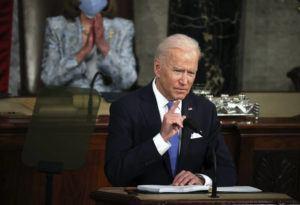 POOL VIA AP                                 President Joe Biden addresses a joint session of Congress.