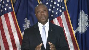 SENATE TELEVISION VIA AP                                 Sen. Tim Scott, R-S.C., delivers the Republican response to President Joe Biden's speech to a joint session of Congress on Wednesday in Washington.