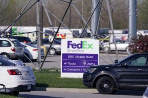 ASSOCIATED PRESS / APRIL 16                                 Vehicles are parked at the scene where multiple people were shot at the FedEx Ground facility early Friday morning in Indianapolis. A gunman killed eight people and wounded several others before apparently taking his own life in a late-night attack at a FedEx facility near the Indianapolis airport, police said, in the latest in a spate of mass shootings in the United States after a relative lull during the pandemic.