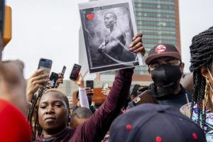 """ASSOCIATED PRESS                                 People gather for a """"Celebration of Life Memorial"""" for rapper DMX at Barclays Center in the Brooklyn borough of New York. DMX, whose birth name is Earl Simmons, died April 9 after suffering a """"catastrophic cardiac arrest."""""""