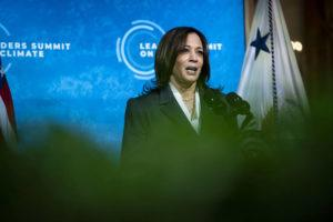 NEW YORK TIMES                                 Vice President Kamala Harris speaks during a virtual Leaders Summit on Climate, at the White House in Washington on Thursday.