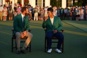 NEW YORK TIMES                                 Hideki Matsuyama right, chats with Dustin Johnson, left, the 2020 Masters Tournament champion, after being presented his green jacket as the 2021 Masters Tournament champion at Augusta National Golf Club in Augusta, Ga., Sunday.